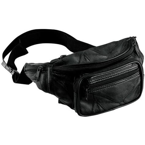 Waist Bag Nature new black leather pack mens waist belt bag womens