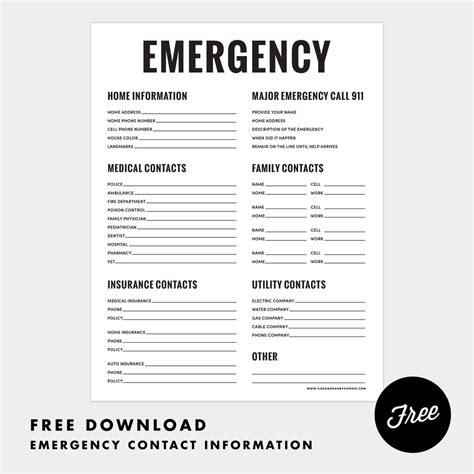 printable emergency numbers 6 best images of free printable emergency contact list