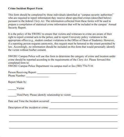 crime report template sle report 7 documents in word pdf
