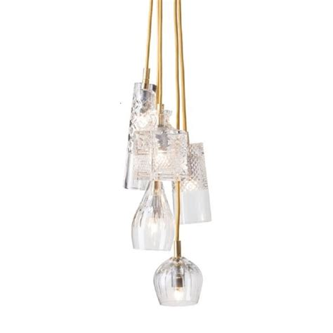 Cluster Pendant Lighting 5 Light Cascade Ceiling Cluster With Glass Shades