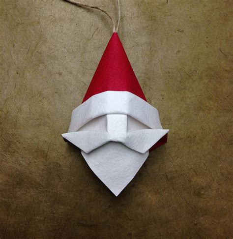 Paper Craft Square - how to fold an origami santa claus tree ornament