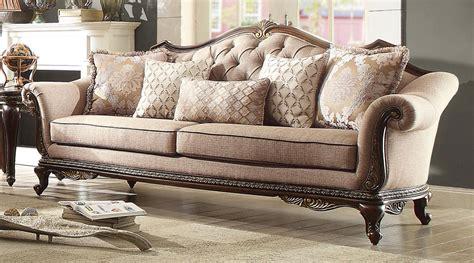 homelegance bonaventure park sofa chenille brown 19359