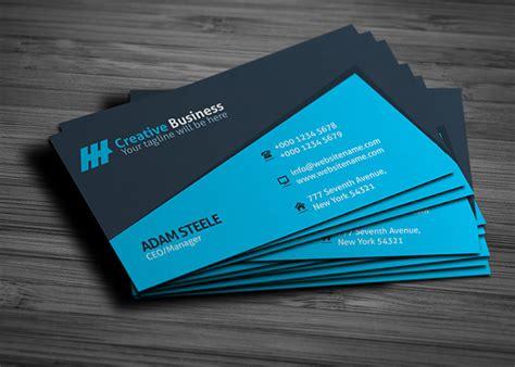 business card template blue creative business card template graphic