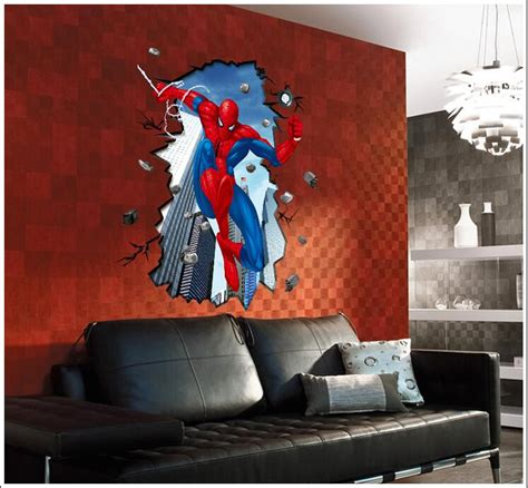 Spiderman Home Decor | 3d spiderman home decor decal art wall stickers room