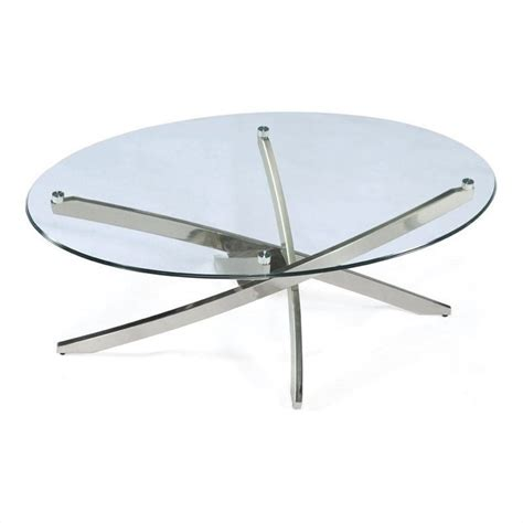 Brushed Nickel Table L by Magnussen Zila Oval Cocktail Table In Brushed Nickel