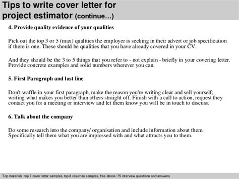 Project Estimator Cover Letter by Project Estimator Cover Letter