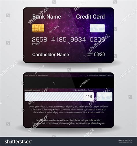 Credit Card Back Side Template Detailed Realistic Vector Credit Card Front Stock Vector 600059186