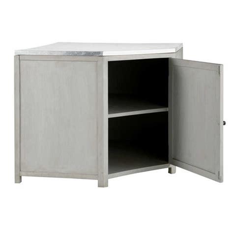element cuisine bas meuble bas d angle de cuisine en manguier massif blanc l 99 cm zinc maisons du monde