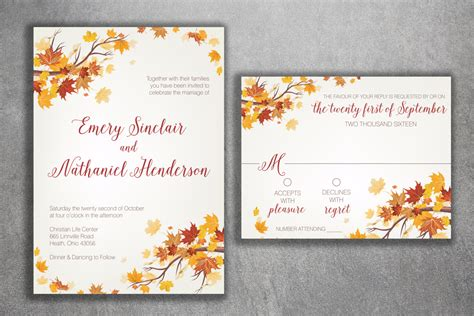 Autumn Wedding Invitations by Autumn Wedding Invitation Set Fall Wedding Invitation