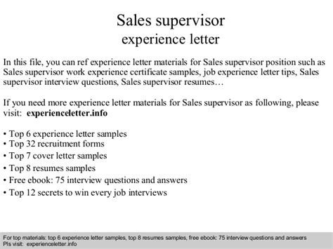 Experience Letter For Quality Supervisor Sales Supervisor Experience Letter