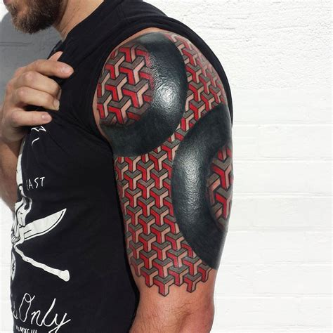 3d tattoo designs arm geometric 3d squares blackwork best design ideas