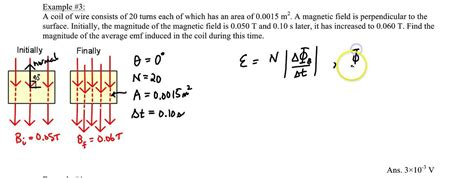 what is the average induced emf in the inductor during this time chapter 22 exle 3 induced emf in a coil from a changing b field