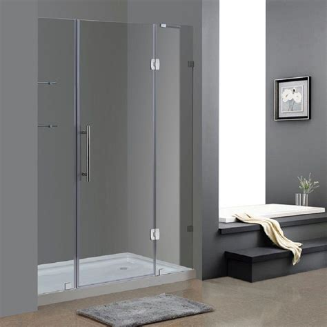 Frameless Hinged Glass Shower Doors Aston Soleil 60 In X 77 1 2 In Completely Frameless Hinge Shower Door In Chrome With Glass
