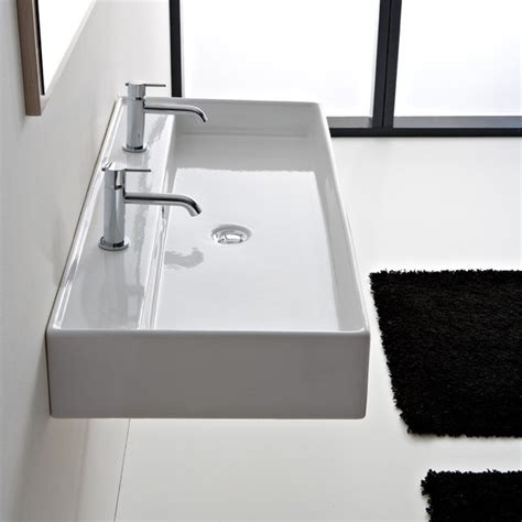 Beautiful Ceramic 47 Inch Double Sink By Scarabeo   Contemporary   Bathroom Sinks   other metro