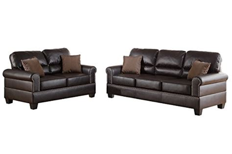two piece sectional sofa in bonded leather espresso sofa leather sofa poundex f7878 bobkona shelton bonded