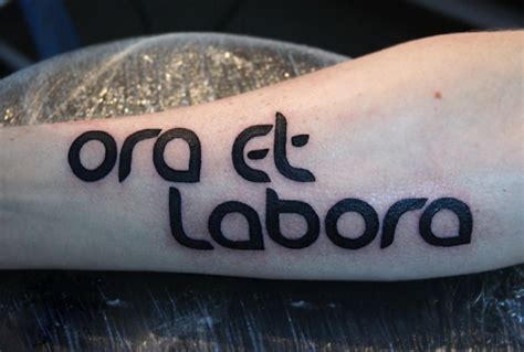 tattoo name harsh harsh ora et labora quote tattoo for men on arm