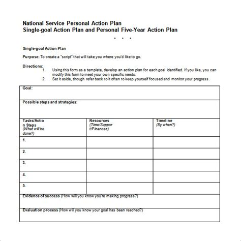 career action plan template 12 free word excel pdf
