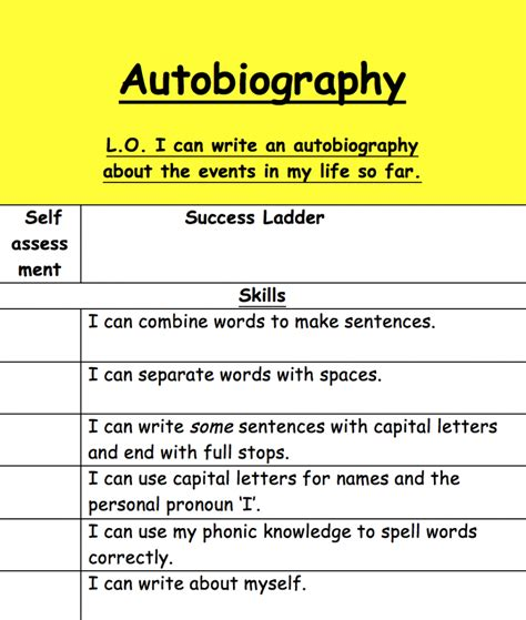biography ks2 success criteria year 1 amazing autobiography sentences in maple class