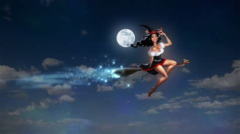 flying on witch flying on a broom wallpapers and images wallpapers