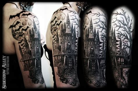 haunter tattoo graveyard designs haunted castle half sleeve by