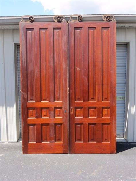 8 Foot Sliding Closet Doors Antique Pair 8 Ft Cherry Interior Sliding Pocket Doors W Rollers Hardware Ebay