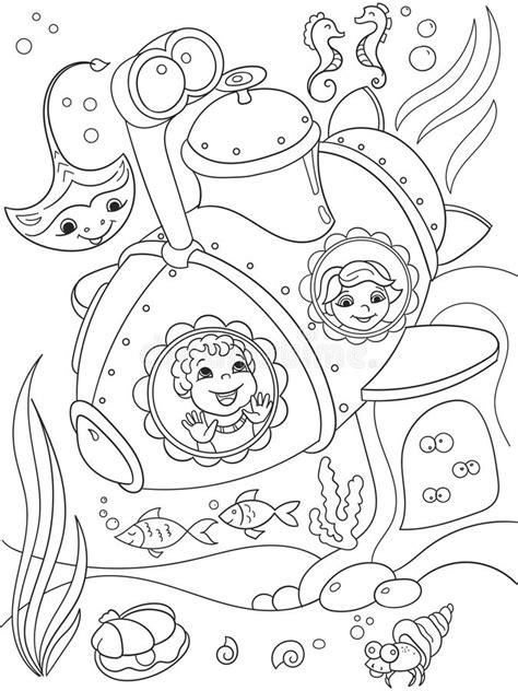 Crianças Que Exploram O Mundo Subaquático Em Páginas De