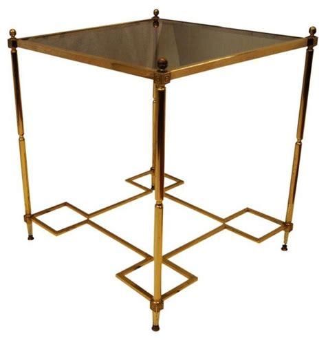 glass side tables for bedroom hollywood regency brass glass top end side table modern
