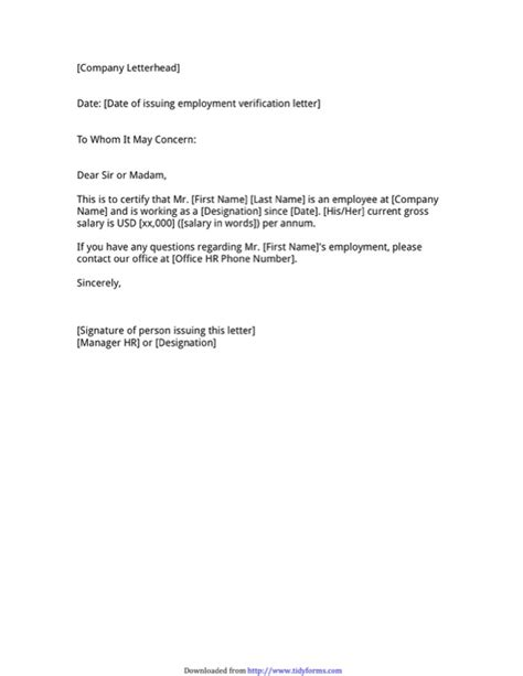 Employment Verification Letter Doe employment verification letter template free templates in doc ppt pdf xls