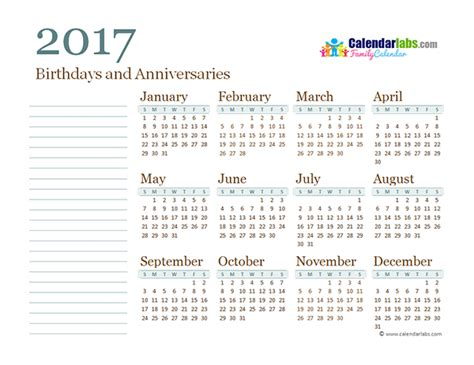 Yearly Calendar 2017 2017 Yearly Family Calendar Free Printable Templates