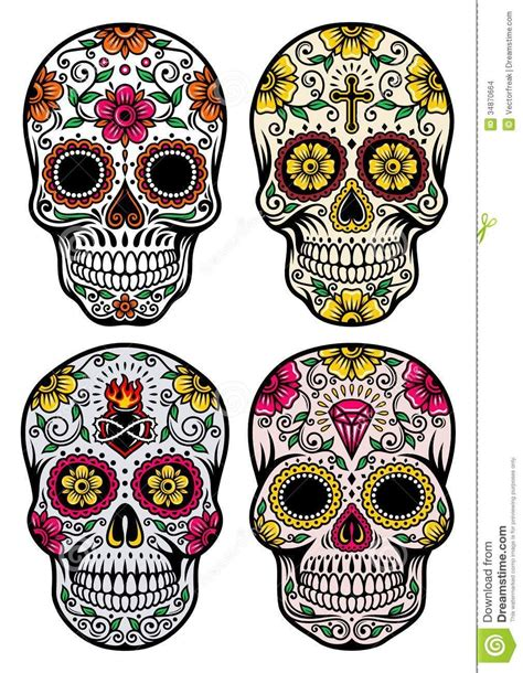 day of the dead sugar skull tattoo designs day of the dead skull vector set from 27