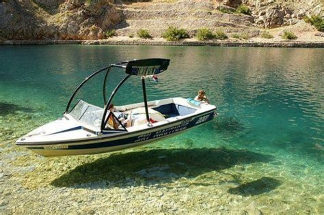 Clearest Water In The Us Hovering Boat Optical Illusion