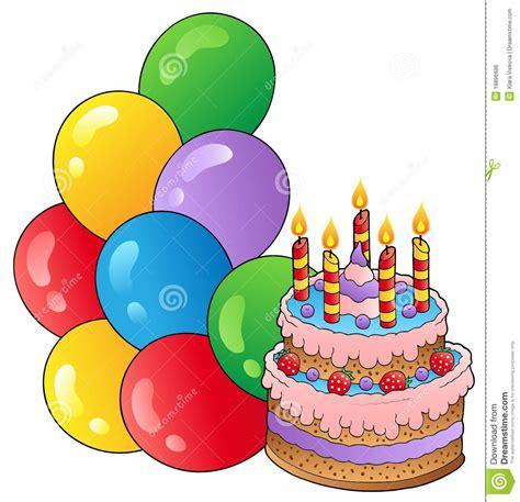 clipart compleanni tema di compleanno con la torta 1 illustrazione vettoriale