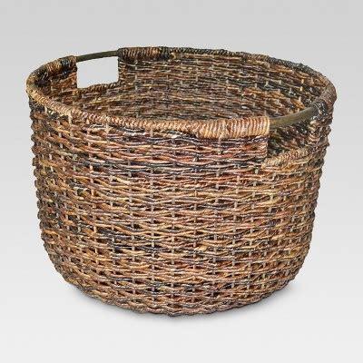 Wicker Large Round Basket Dark Brown   Threshold : Target