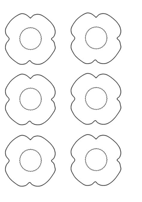 poppy template to colour free coloring pages of anzac poppies