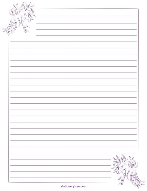 printable unicorn paper unicorn stationery and writing paper notes stationery