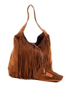 brown leather boho bag with fringe by apatxe buylevard