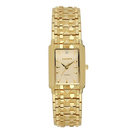 elgin gold tone rectangle with chagne