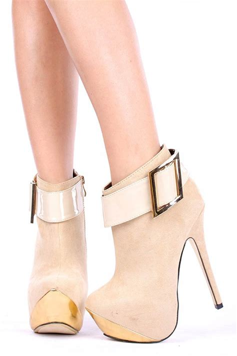 booties high heels beige faux suede patent leather buckle gold accent