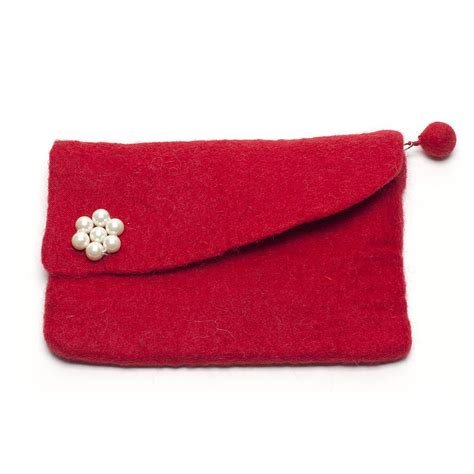Clutch Handmade - handmade felt pearl clutch purse by felt so