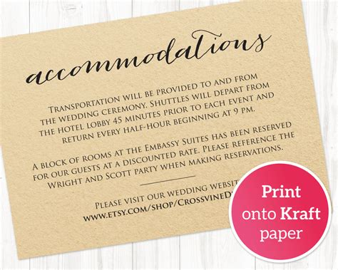 Wedding Shuttle Card Template by Wedding Accommodations Card Insert 183 Wedding Templates And