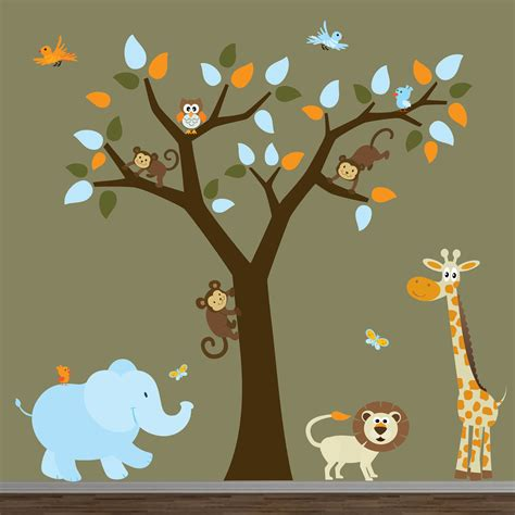 safari nursery jungle wall by modernwalls on etsy
