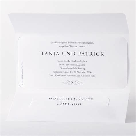 Einladungskarten Einsteckkarten by Einladungskarte Quot Melina Quot In Schwarz Wei 223 Mit