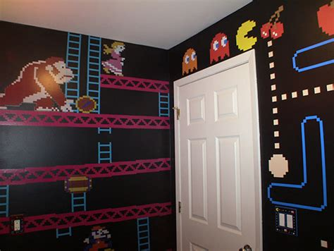 Space Invaders Shower Curtain A Mario Donkey Kong And Pac Man Themed Bathroom Geekologie