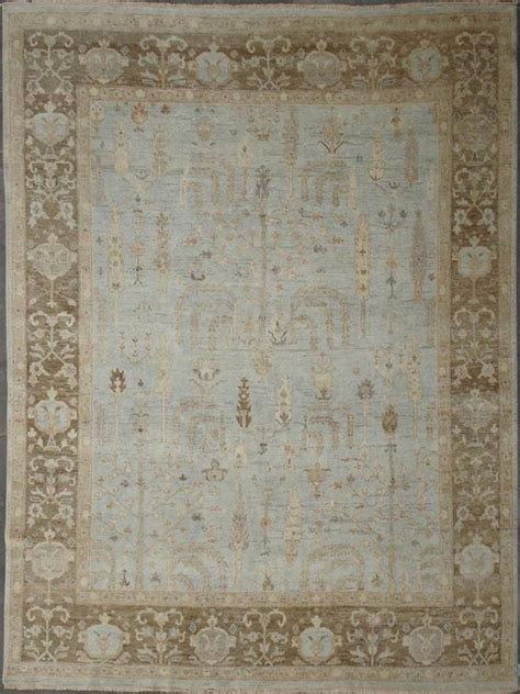 Light Blue And Brown Area Rug Oushak Revivals Tk 15 Light Blue And Brown Rug Rectangle 4 X6 Transitional Area Rugs By
