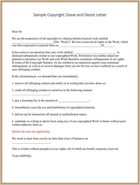 Cease And Desist Templates 6 Letters And Forms For Word Patent Cease And Desist Letter Template