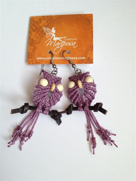 Earing Owl Ready macrame owl earrings jewelry and accessories macram 232 orecchini e owl