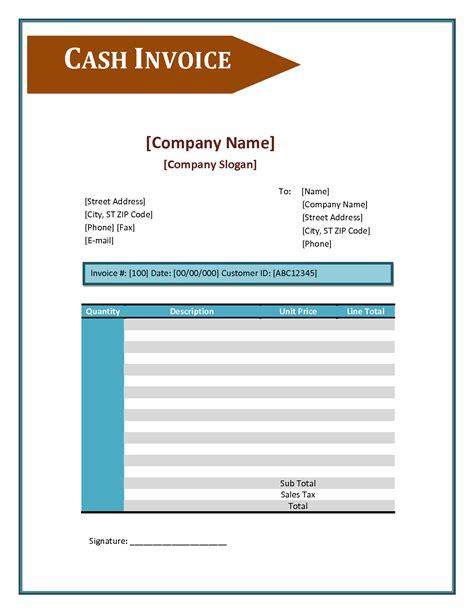 cash invoice template excel invoice exle