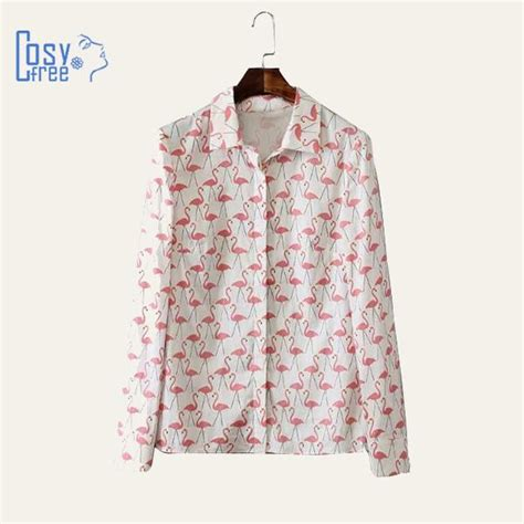 Flamingo Longsleeve Shirt 1 2015 blusas plus size animal flamingo printed tops white blouse turn collar button