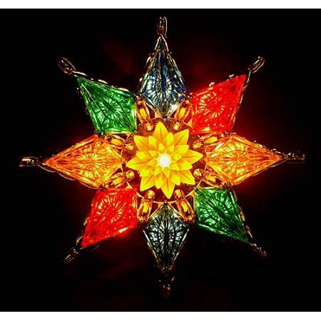 multi colored star tree topper 7 quot lighted 8 point multi color mosaic tree topper clear lights walmart