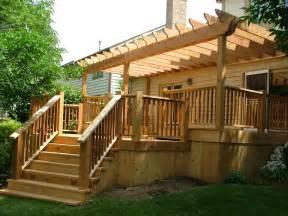 Pergola Deck Plans by Hand Crafted Custom Cedar Deck With Pergola By Lee Custom